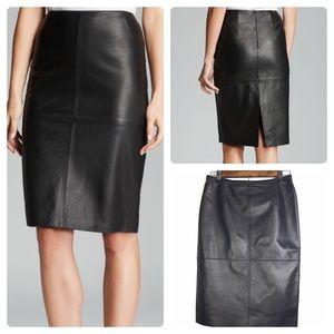 Lafayette 148 Modern Leather Slim Pencil Skirt